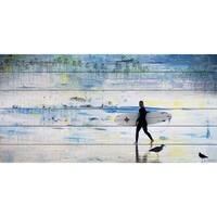 Parvez Taj - 'Day of Surfing' Painting Print on White Wood