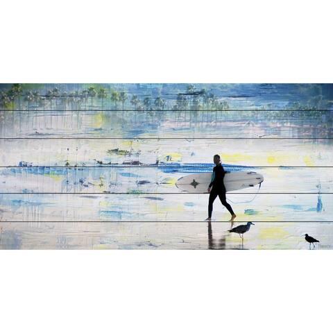Handmade Parvez Taj - Day of Surfing Print on White Wood