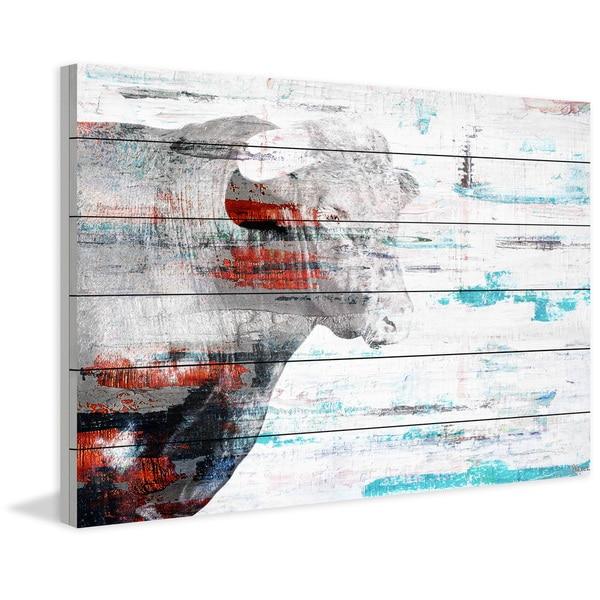 Handmade Parvez Taj - Red Bull Profile Print on White Wood