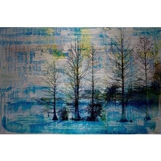 Parvez Taj - 'Fir Trees Blue' Painting Print on Brushed Aluminum