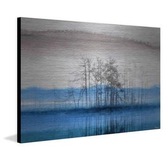 Parvez Taj - 'Blue Lake Horizon' Painting Print on Brushed Aluminum