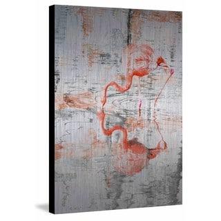 Parvez Taj - 'Flamingo Reflection' Painting Print on Brushed Aluminum