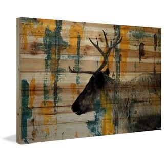 Parvez Taj - 'Teal Yellow Reindeer' Painting Print on Natural Pine Wood