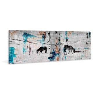 Parvez Taj - 'Two Horses Grazing' Painting Print on Wrapped Canvas