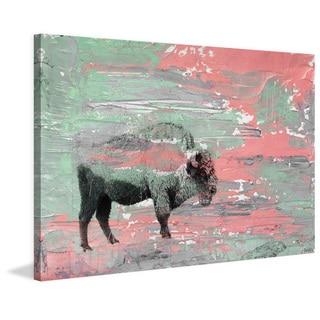 Parvez Taj - 'Green Paint Buffalo' Painting Print on Wrapped Canvas