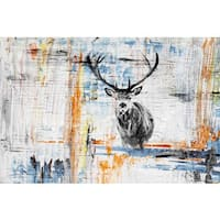 Parvez Taj - 'Staring Deer' Painting Print on Wrapped Canvas - Multi-color