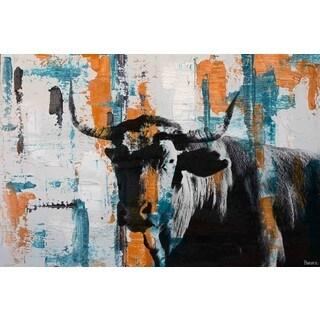 Parvez Taj - 'Orange Teal Steer' Painting Print on Wrapped Canvas