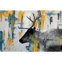 Parvez Taj - 'Teal Yellow Reindeer' Painting Print on Wrapped Canvas - Multi-color