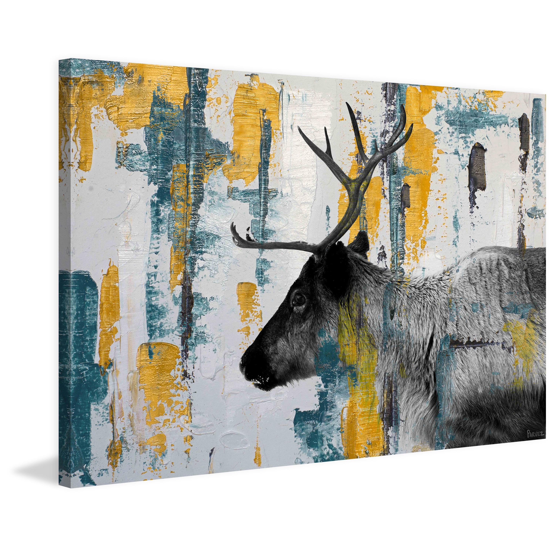 Handmade Parvez Taj Teal Yellow Reindeer Print On Wrapped Canvas Overstock 13732795