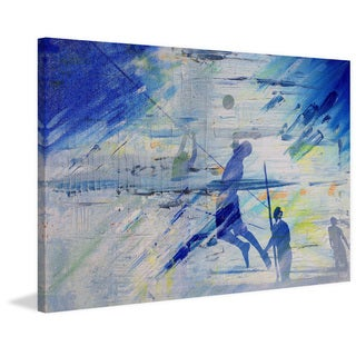Parvez Taj - 'Beach Volleyball' Painting Print on Wrapped Canvas