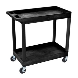 Offex Black Plastic High-capacity 2-shelf Rolling Storage Cart