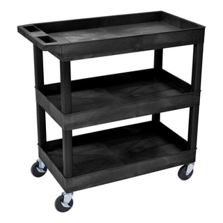 Offex OF-EC111-B 3-shelf Black 32 x 18-inch Tub Cart