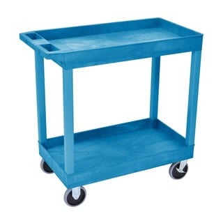 Offex 32 x 18-inch Two Shelves Blue Tub Cart
