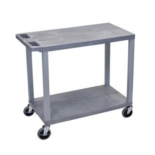 Offex Grey Plastic 2-shelf Utility Cart