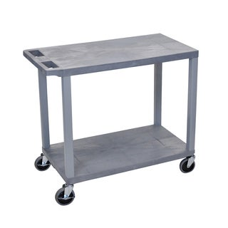 "Offex 32"" x 18"" Two Flat Shelves Utility Cart - Grey"