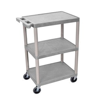 Offex OF-HE34-G 3 Shelves Multipurpose Grey Storage Structural Foam Plastic Utility Cart