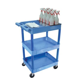 Offex BUSTC111BU Blue 3-shelf Tub Cart