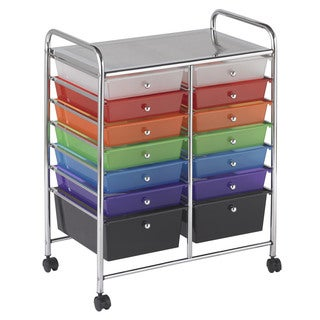 Offex Home Office Multicolor Plastic 14-drawer Assorted Mobile Organizer