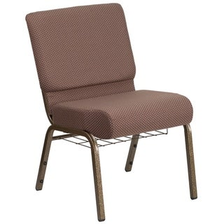 """21""""W Church Chair in Brown Dot Fabric with Book Rack - Gold Vein Frame"""