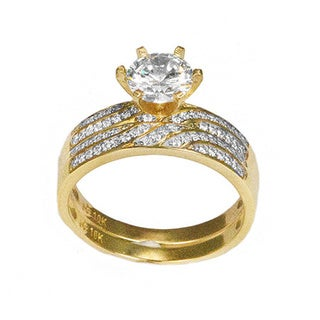 10k Yellow Gold Round-cut CZ His and Hers Bridal-style Ring Set