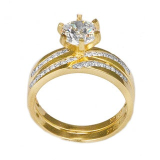 10k Gold Round-cut CZ His and Hers Bridal-style Ring Set - Yellow (More options available)
