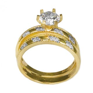 10k Yellow Gold Round Cut CZ His And Hers Bridal Style Ring Set