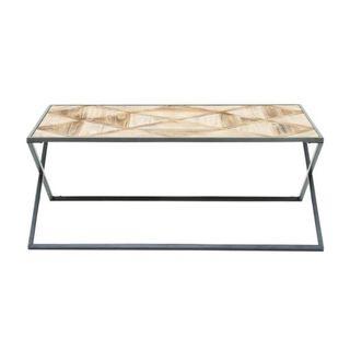 Benzara Metal and Wood Coffee Table