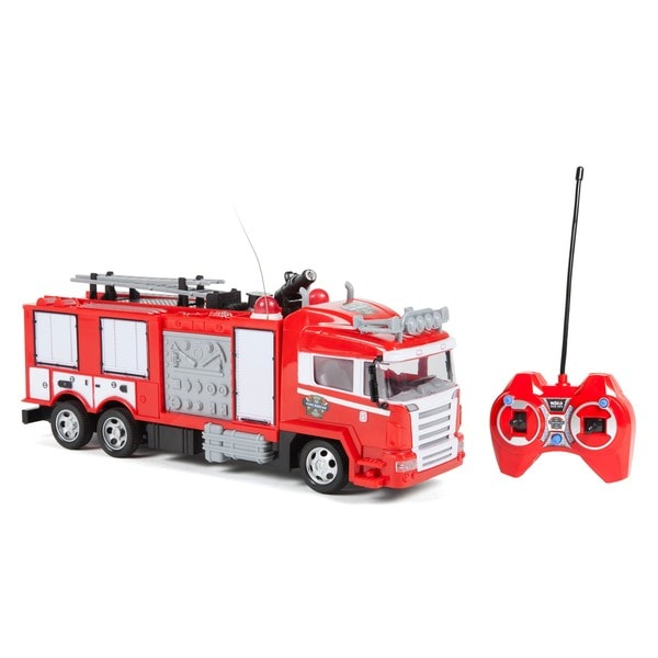 World Tech Toys Boys and Girls Fire Rescue Water Cannon RC Red Plastic Fire Truck