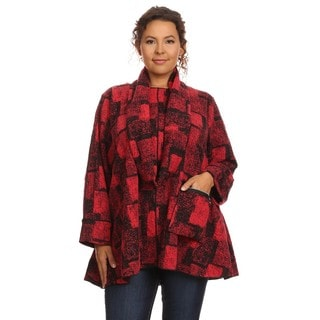 Women's Red Plaid Cotton-blend Sweater and Infinity Scarf