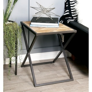Modern 22 x 22 Inch Stained Iron and Wood Side Table by Studio 350