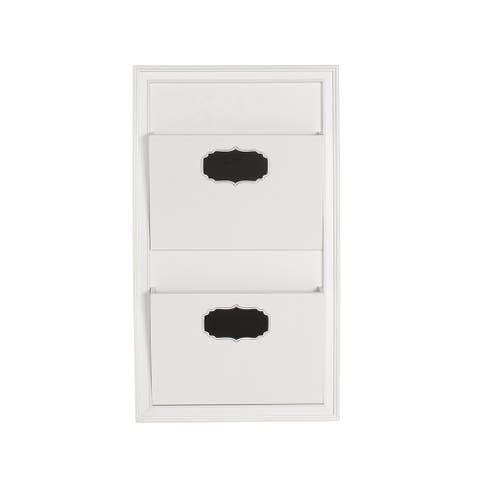 Designovation Walcott White Wood Decorative Wall Organizer 2-pocket Mail Holder