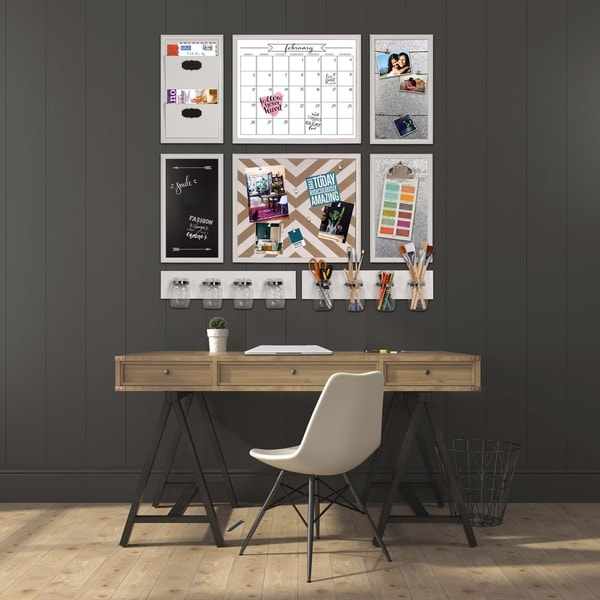 White DesignOvation Walcott Decorative Wall Organizer Mail Holder with Two Pockets