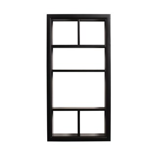Designovation Corri 6 White/Black Wood Divided Cubby Wall Shelf