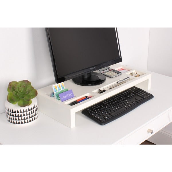 Kate and Laurel Briggs Wood Desktop Organizer Monitor Bridge. Opens flyout.