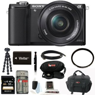 Sony ILCE5000LB ILCE-5000B Alpha A5000 Mirrorless Digital Camera with 16-50mm Lens (Black) with 32GB Kit