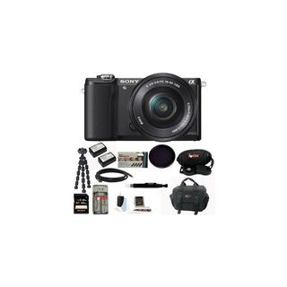 Sony ILCE5000LB ILCE-5000LB Alpha A5000 Mirrorless Digital Camera with 16-50mm Lens (Black) with 64GB Kit