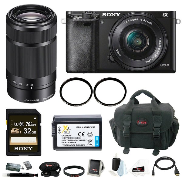 Sony Alpha A6000 Mirrorless Digital Camera with 16-50mm and 55-210mm Lens Bundle and 32GB Deluxe Accessory Kit