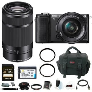 Sony Alpha A5000 Mirrorless Digital Camera (Black) with 16-50mm and 55-210mm Lens Bundle and 32GB Kit