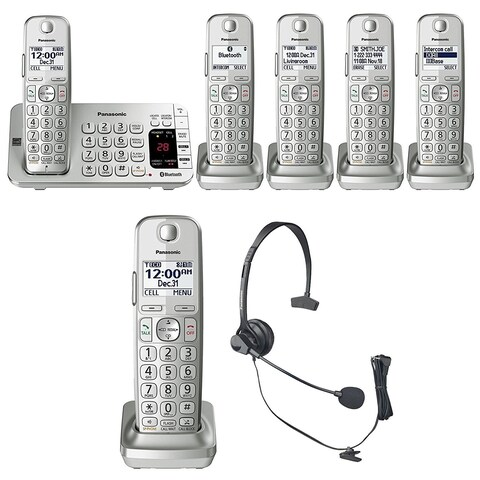 Panasonic KX-TGE475S Link2Cell Bluetooth Phone w/ 6 Handsets & Headset