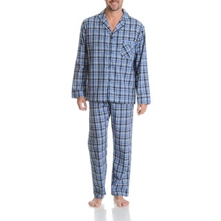 Hanes Men's Plaid Blue Cotton and Polyester 2-piece Woven Pajama Set