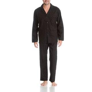 Hanes Men's Black Print 2 Piece Woven Pajama Set
