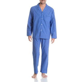 Hanes Men's Blue Cotton and Polyester Check 2-piece Woven Pajama Set
