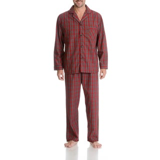 Hanes Men's Red Plaid Cotton/Polyester 2-piece Woven Pajama Set