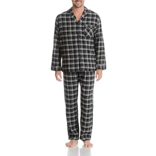 Hanes Men's Black Plaid Cotton Woven Flannel 2-piece Pajama Set