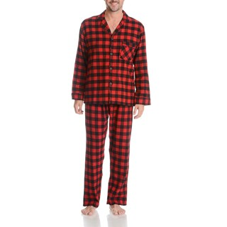 Hanes Men's Red and Black Plaid Cotton 2-piece Woven Flannel Pajama Set