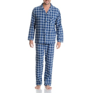 Hanes Men's Blue Plaid Cotton 2-piece Woven Flannel Pajama Set