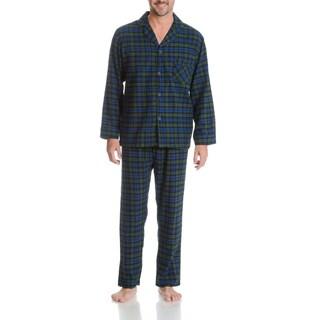 Hanes Men's Blackwatch Plaid Woven Flannel 2-piece Pajama Set