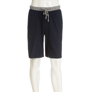 Hanes Men's Navy/Blue Solid/Print Cotton Jams (Set of 2)