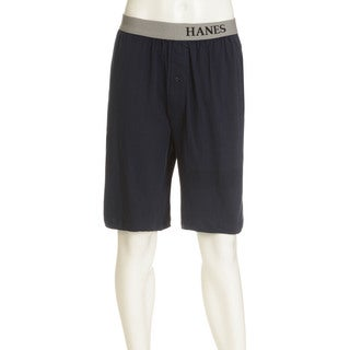 Hanes Men's Navy and Grey Cotton and Polyester Knit Jams Lounge Shorts (2-pack)