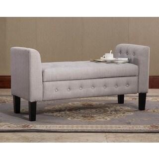 Domeli Grey Fabric Storage Ottoman
